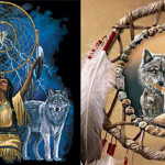 Dreamcatchers and wolf art!