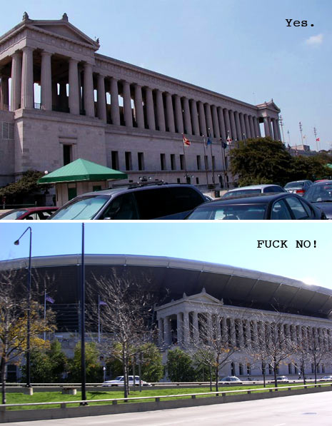 Soldier Field before and after