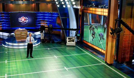 sportscenter football studio virtual playbook field