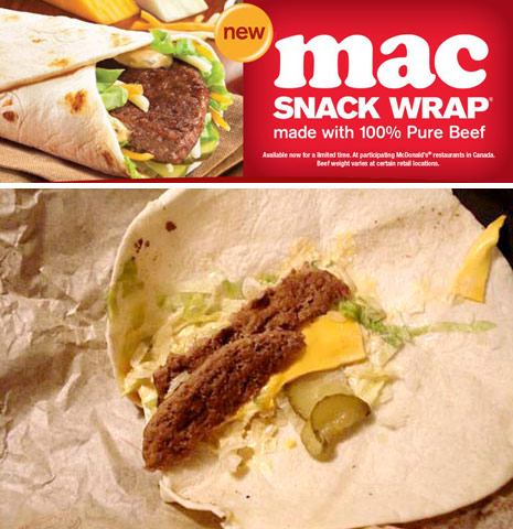 mcdonalds big mac snack wrap