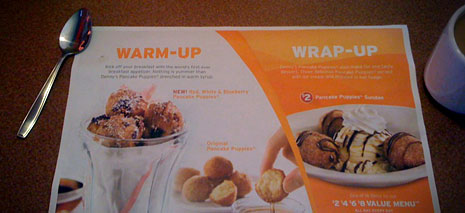 Denny's breakfast appetizers and desserts