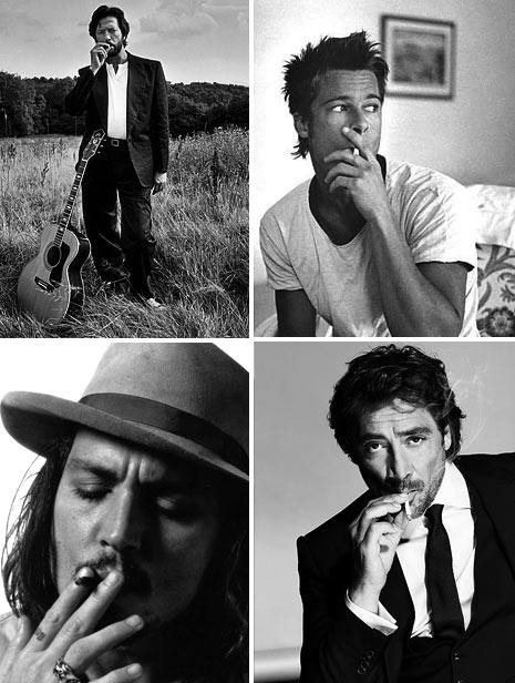 johnny dep, brad pitt, celebrities smoking photos