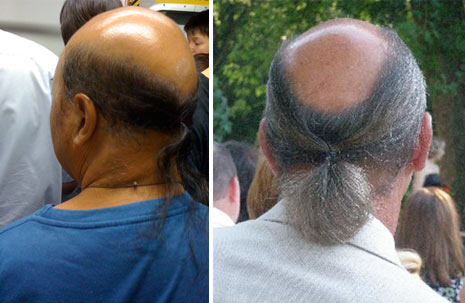 bald men with ponytails, bad ponytails