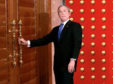 george bush idiot can't open door